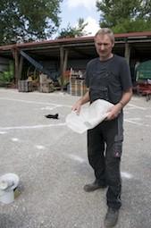 Martin Obersojer mit dem verwendeten Vlies