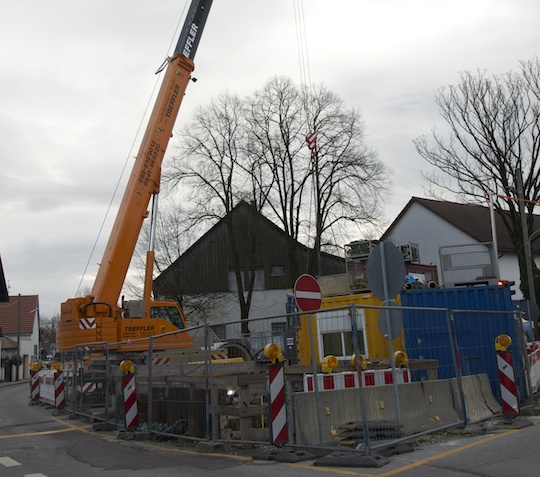 An der Baustelle Pflaumstr. wird regulär weitergearbeitet