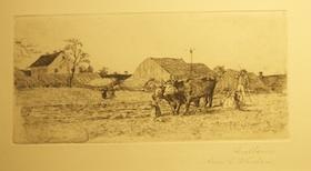 Pflügende Bauern bei Lustheim