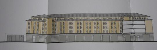 So sieht das neue Gebäude  am Walter-Sedlmayr-Platz aus